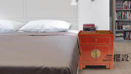 【摆设】1屉2门红色床头柜