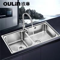 歐琳水槽  不銹鋼雙槽JBS2T-OLCT313+龍頭OL9531